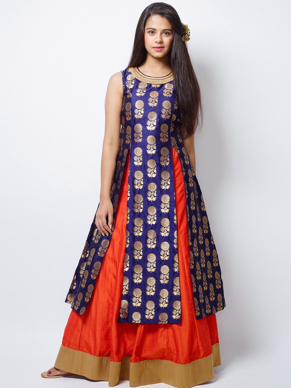 Wedding Wear Orange Raw Silk Lehenga Choli Indian