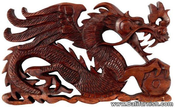 Carved Wood Dragon Statue From Bali Dragon Carvings