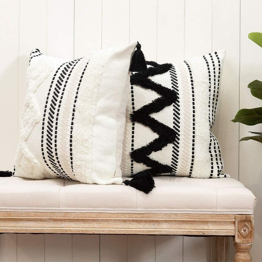 2er Set Boho Kissenbezug Dekorative Kissenbezüge Dekokissen Modern Home Dekor Kissenh Decorative Throw Pillow Covers Boho Throw Pillows Small Decorative Pillow