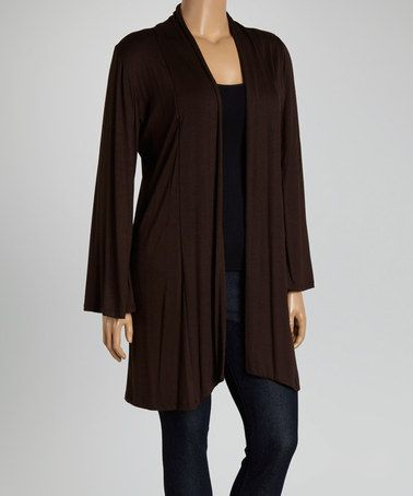 Look what I found on #zulily! Brown Open Cardigan - Plus #zulilyfinds