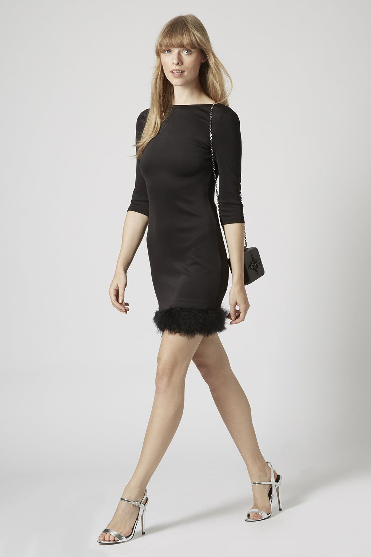 Feather Hem Bodycon Dress - Dresses - Clothing