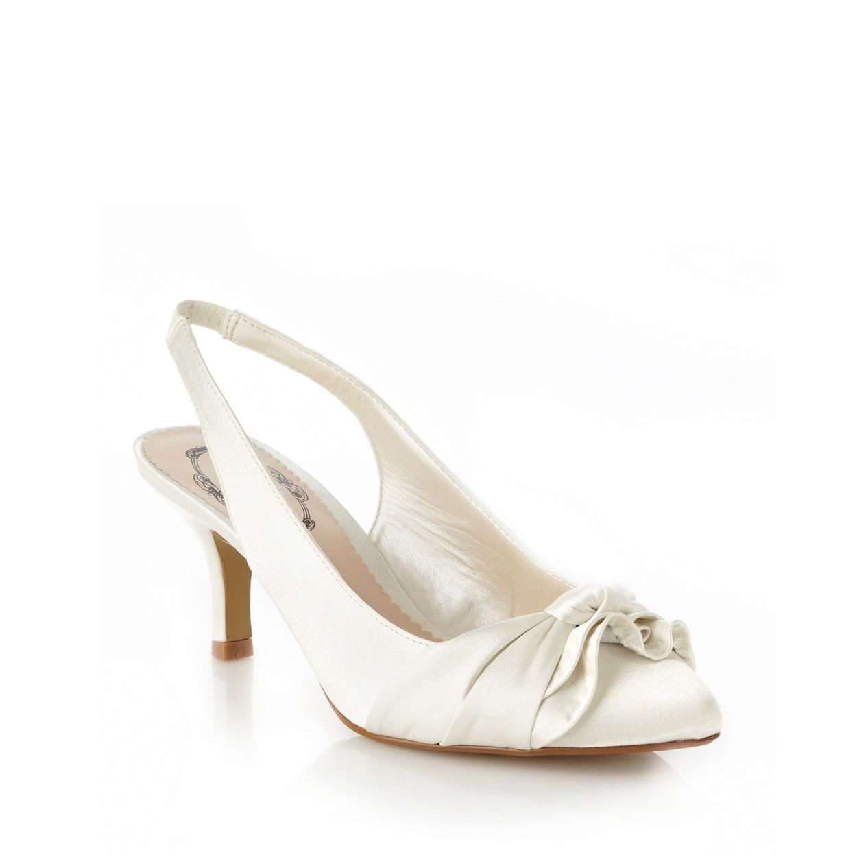 5ad25569119 Debut Ivory Mid Heel Satin Court Shoes With Knotted Bow Trim- at  Debenhams.com £29
