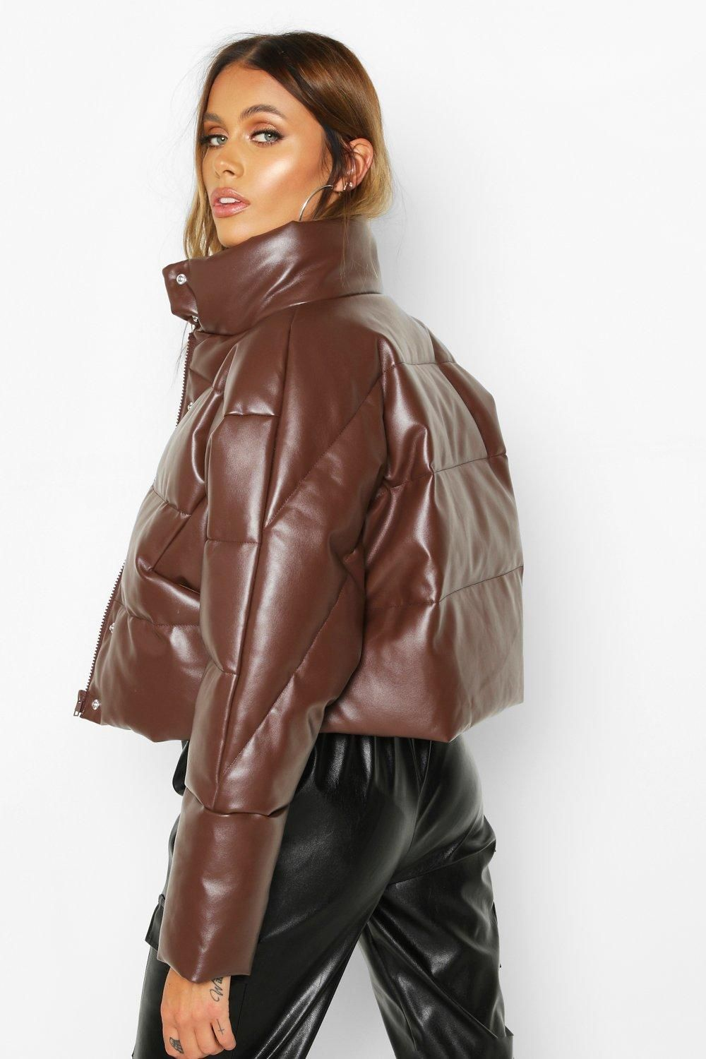 Faux Leather Puffer Boohoo Womens Faux Leather Puffer Outfit Fashion [ 1500 x 1000 Pixel ]