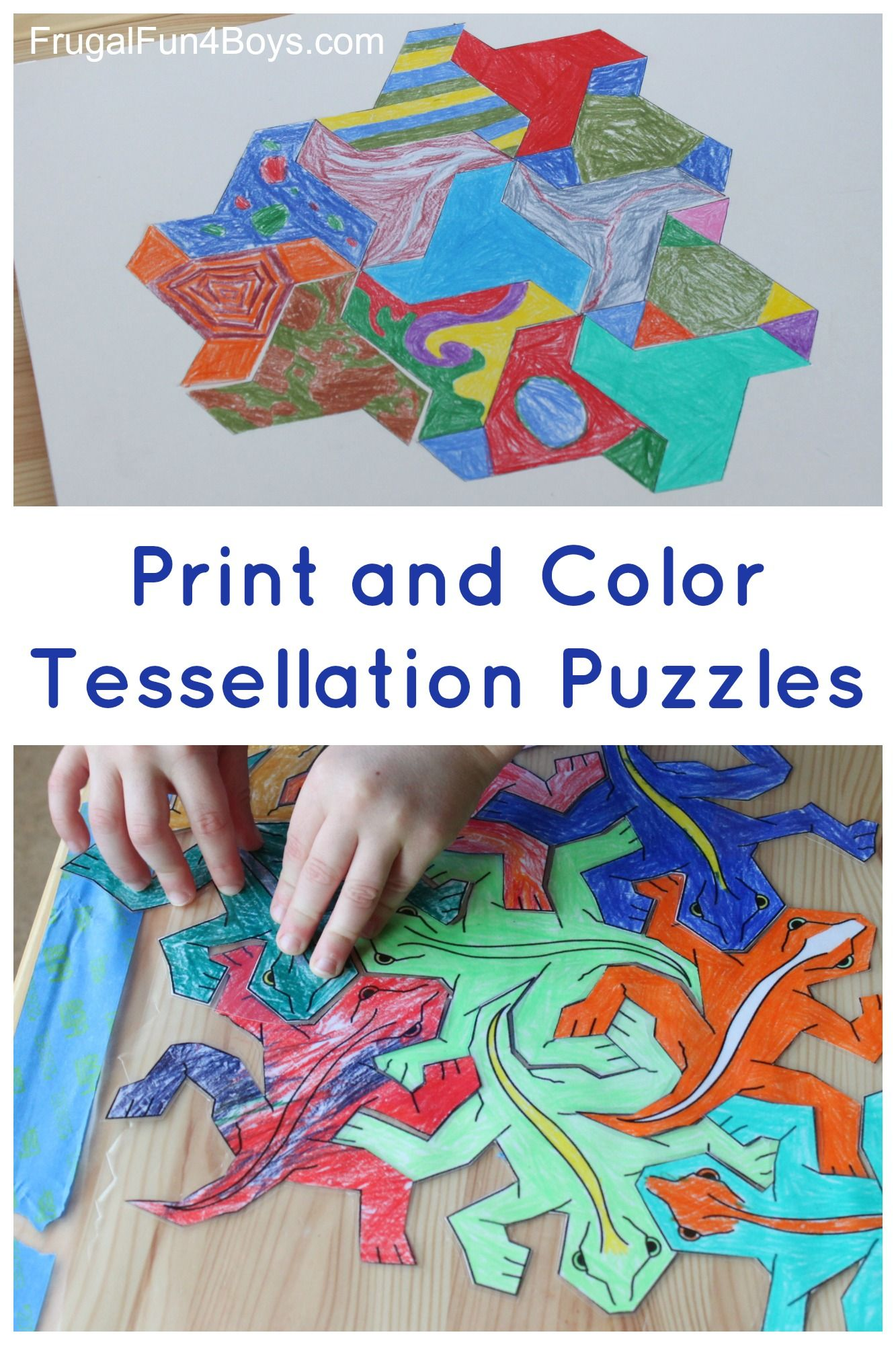 Print and Color Tessellation Puzzles for Kids | Math & Geometry ...