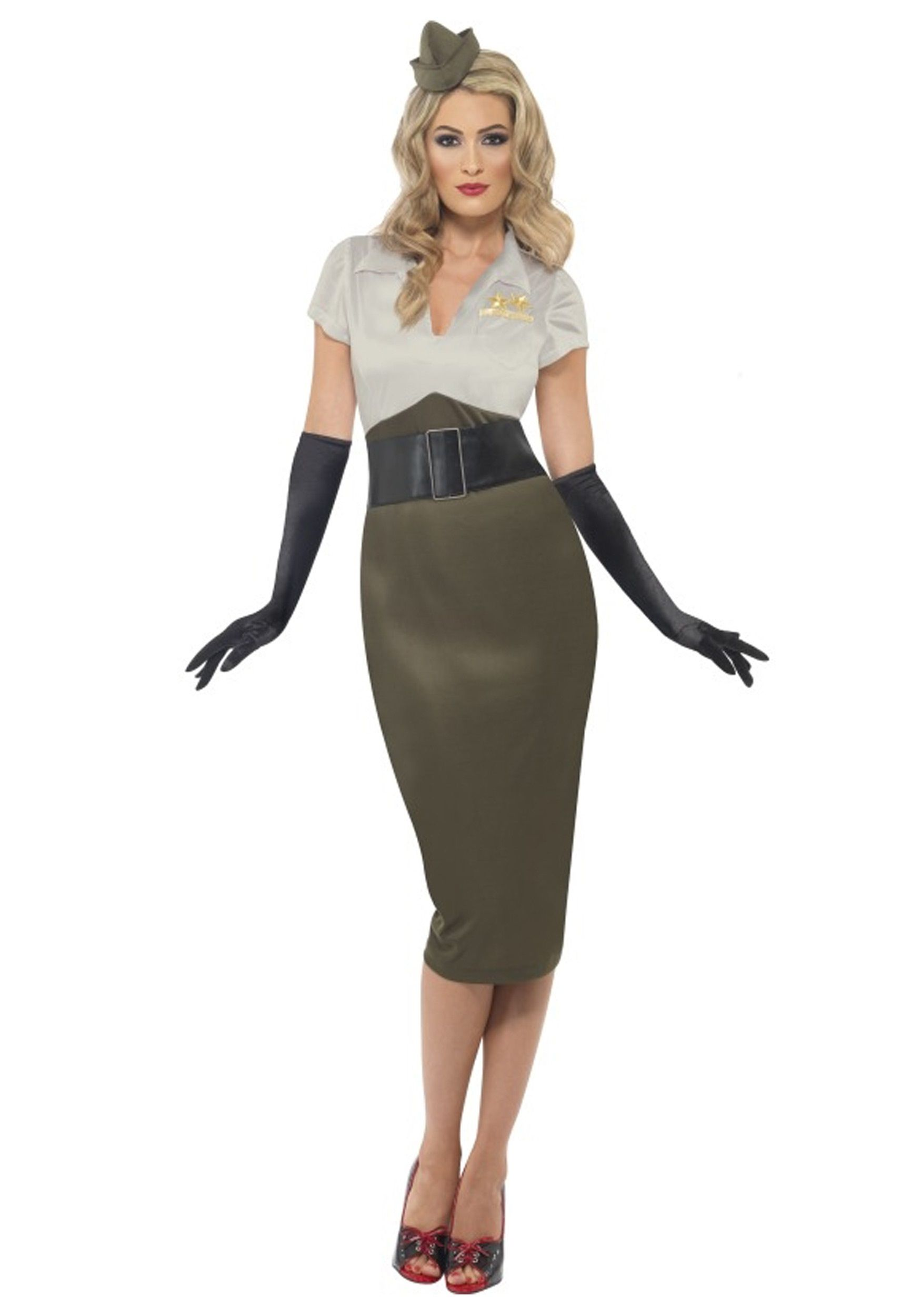 d0cdd5bef7b6 Your photo will definitely grace his locker when you wear this WW2 Army Pin  Up Darling Costume! Look just like a 1940s USO girl!
