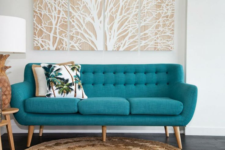 Merveilleux The Palm Tree Cushions Work Really Well On This Turquoise Button Back Retro  Inspired Sofa