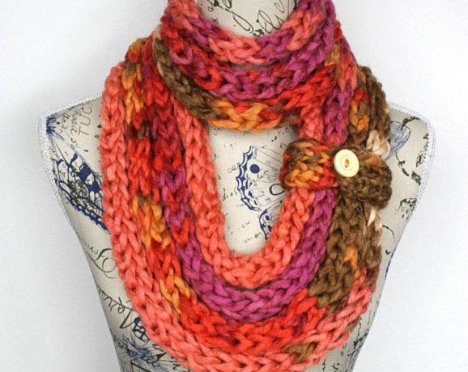 Knitting Loop Scarf : Rainbow knit scarf chunky infinity chain bulky