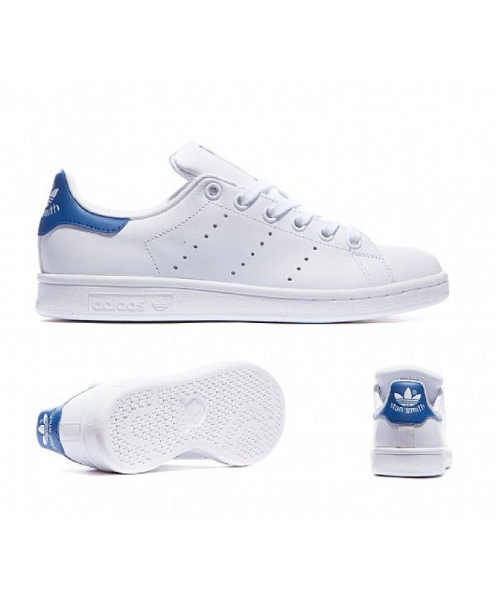Adidas Stan Smith Junior stan Blanc Bleu Trainers stan Junior smith junior be8312