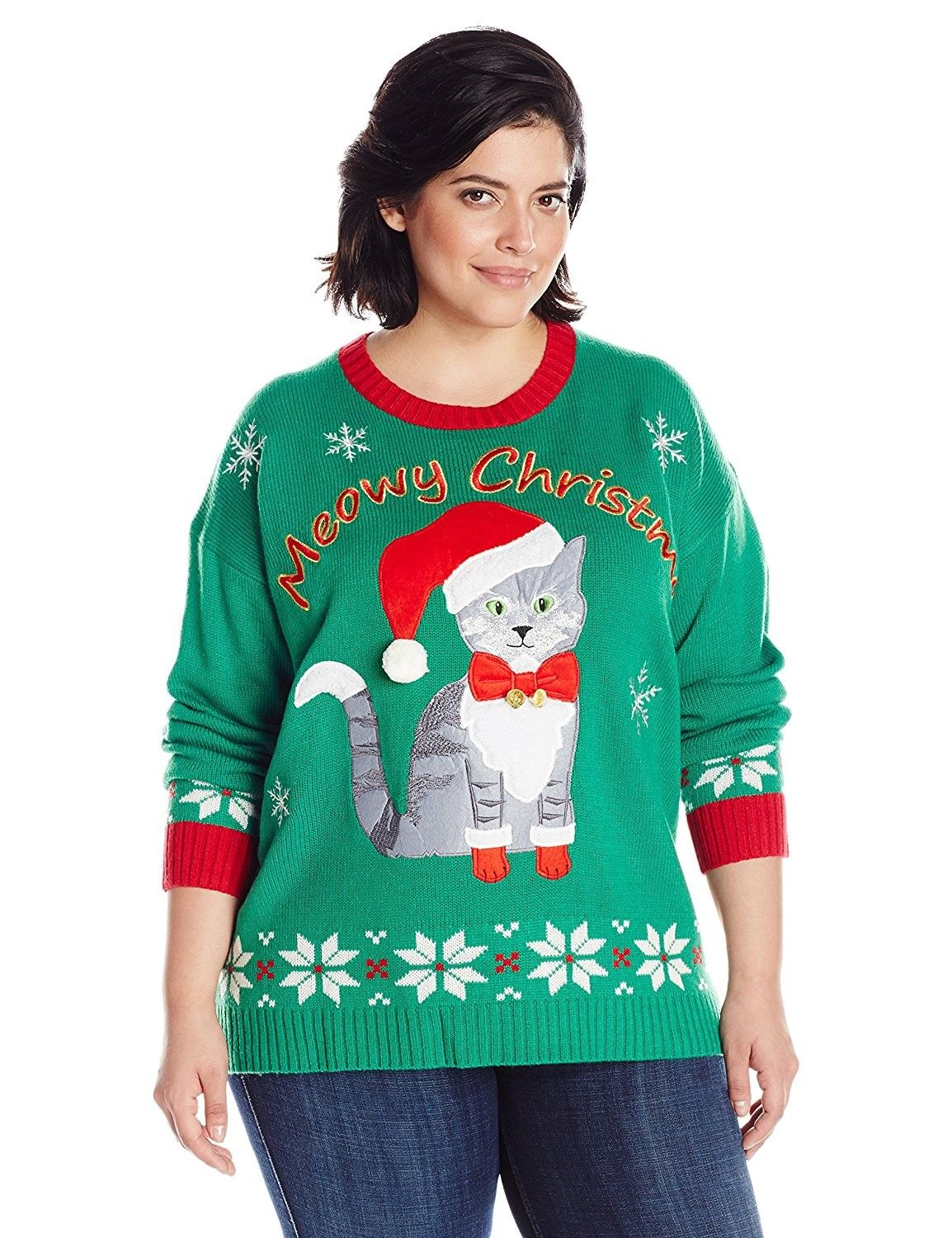 4e951d94333 Women s Plus Size Meowy Cat Ugly Christmas Sweater with Bells ...
