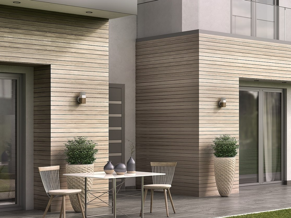 Woodee Wood Panel For Facade Smartia Systems Collection By Alumil In 2020 Exterior Wall Tiles Wooden Wall Tiles Patio Interior