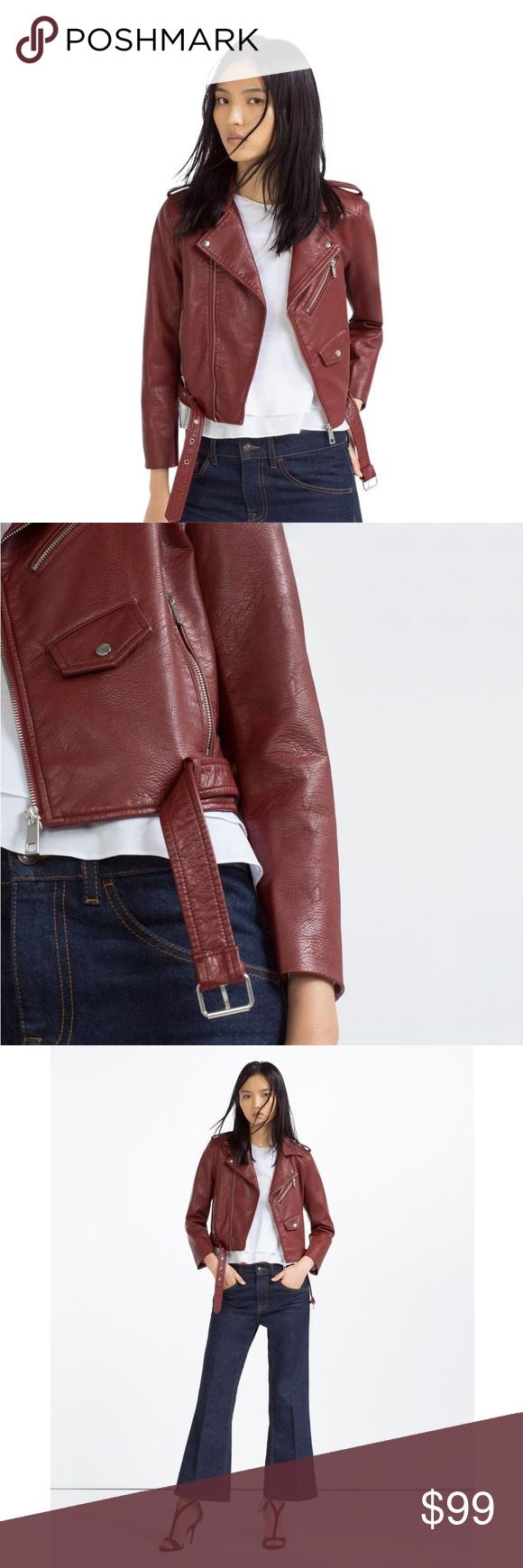 ZARA BASIC Faux Leather Crop Moto Zip Jacket Zara basic