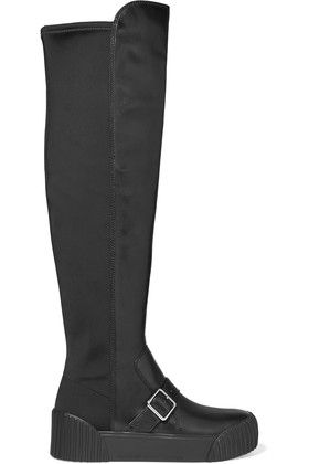 f2caaab0f6d219 Marc by Marc Jacobs - Thompson Paneled Leather And Neoprene Knee Boots -  Black £204.00