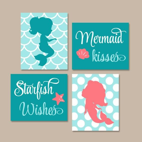MERMAID Wall Art, Canvas or Prints, Mermaid Bathroom Decor, Sister BATHROOM, Mermaid Bedroom Decor, Mermaid Kisses Starfish Wishes, Set of 4 WALL ART available as PRINTS or CANVAS (see below) SIZING OPTIONS Available sizes and prices are listed on the drop down menu above the add to cart #mermaidbathroomdecor