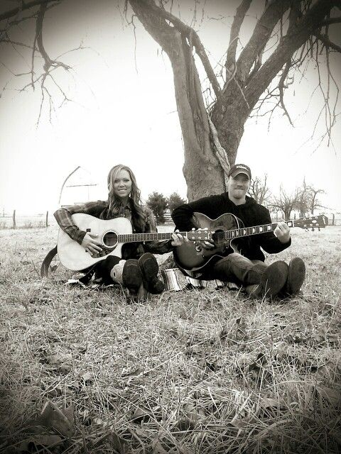 Couples Photography ~ outdoor, playing guitars, vintage blanket, old tree