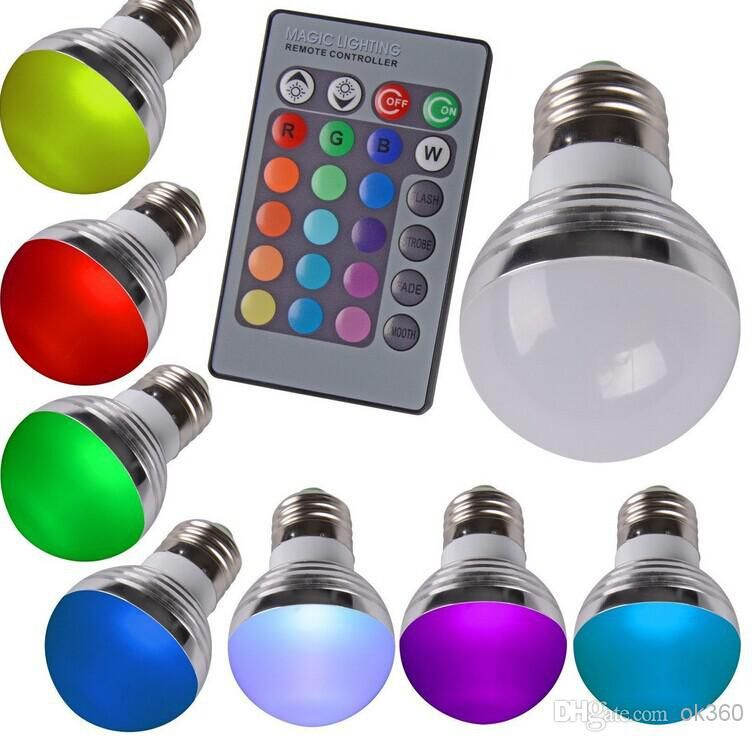 3W RGB LED E27 GU10 Led Light Bulb Globe Lamp + 24 Keys IR Remote  Controller 85 265V Christmas Day KTV Party Bar Hotel Light