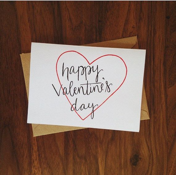 Hand Lettered Happy Valentine 39 S Day Card Classic Simple Calligraphy Moder Happy Valentines Day Calligraphy Happy Valentines Day Card Hand Lettering