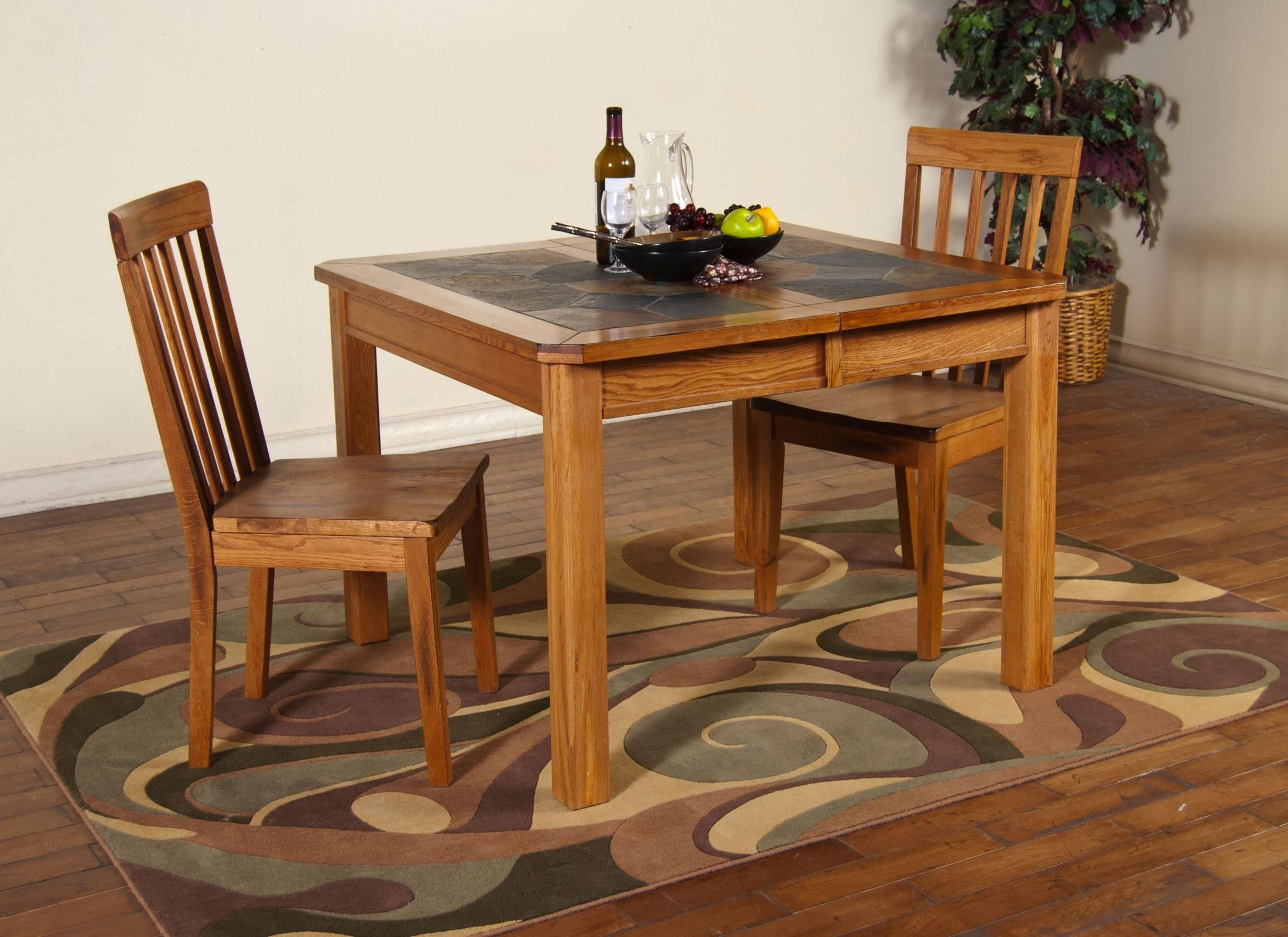 Sunny Designs 1273ro Sedona Extension Dining Table W Slate Top