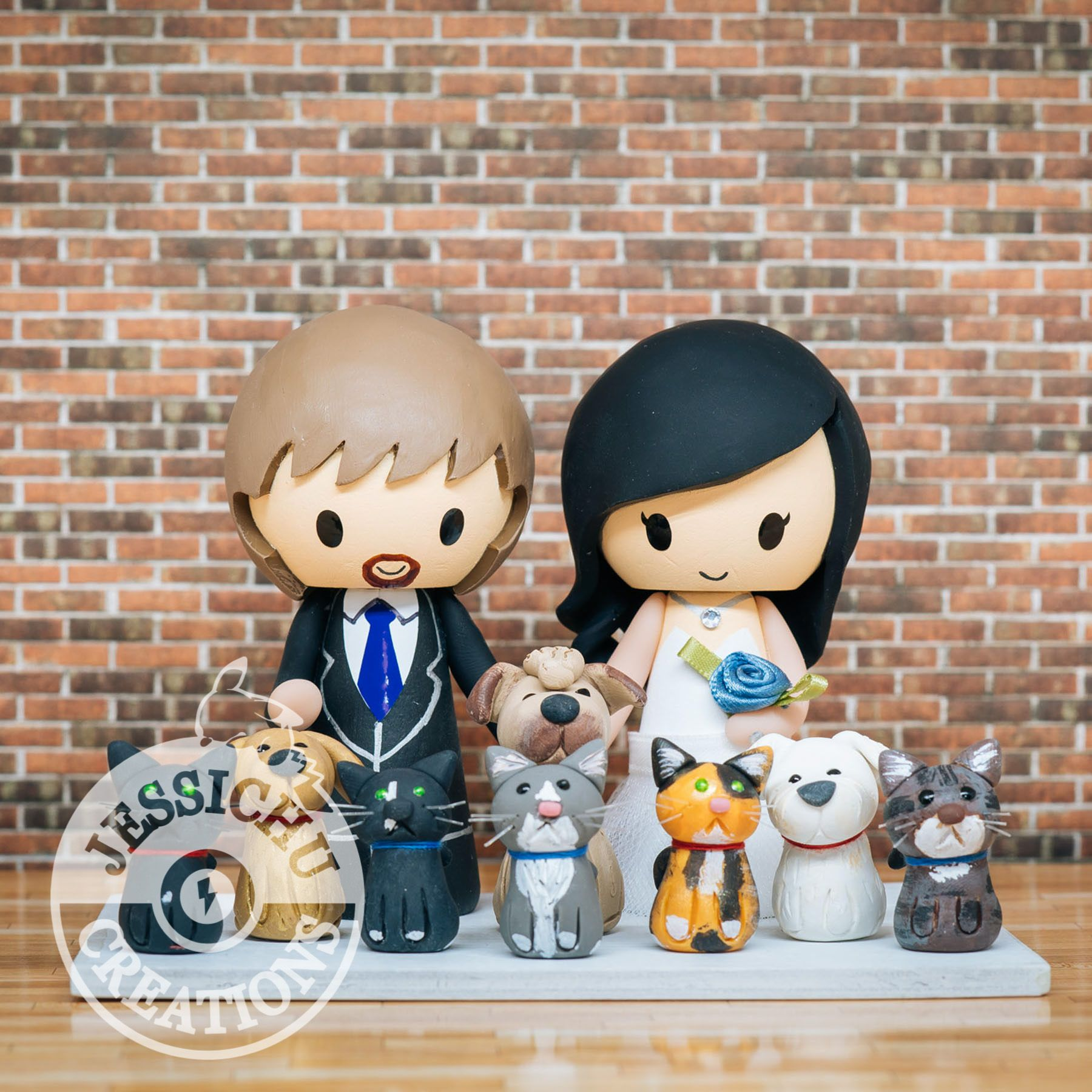 Groom and Bride with 8 Pet Dogs & Cats inspired Custom