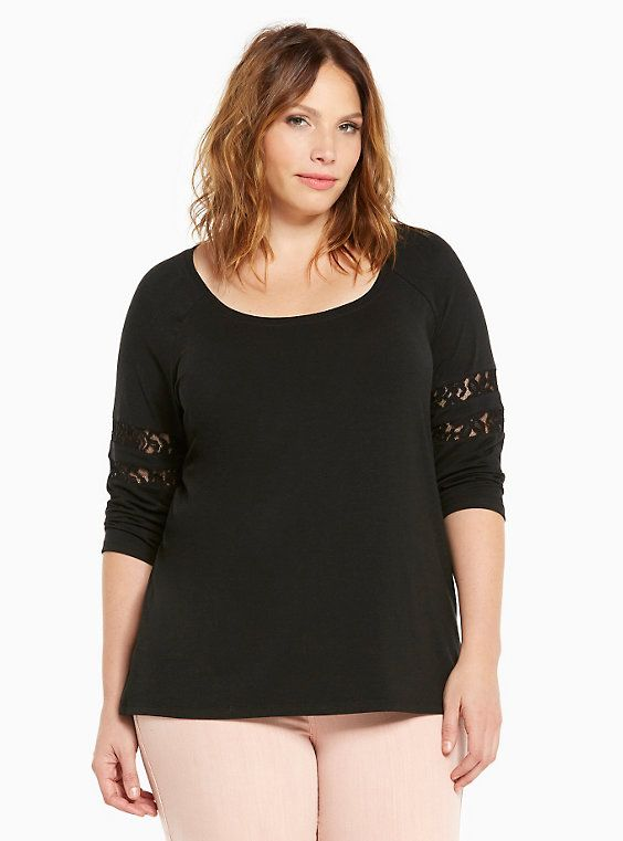 a528676c366 Plus Size Lace Inset Football Tee