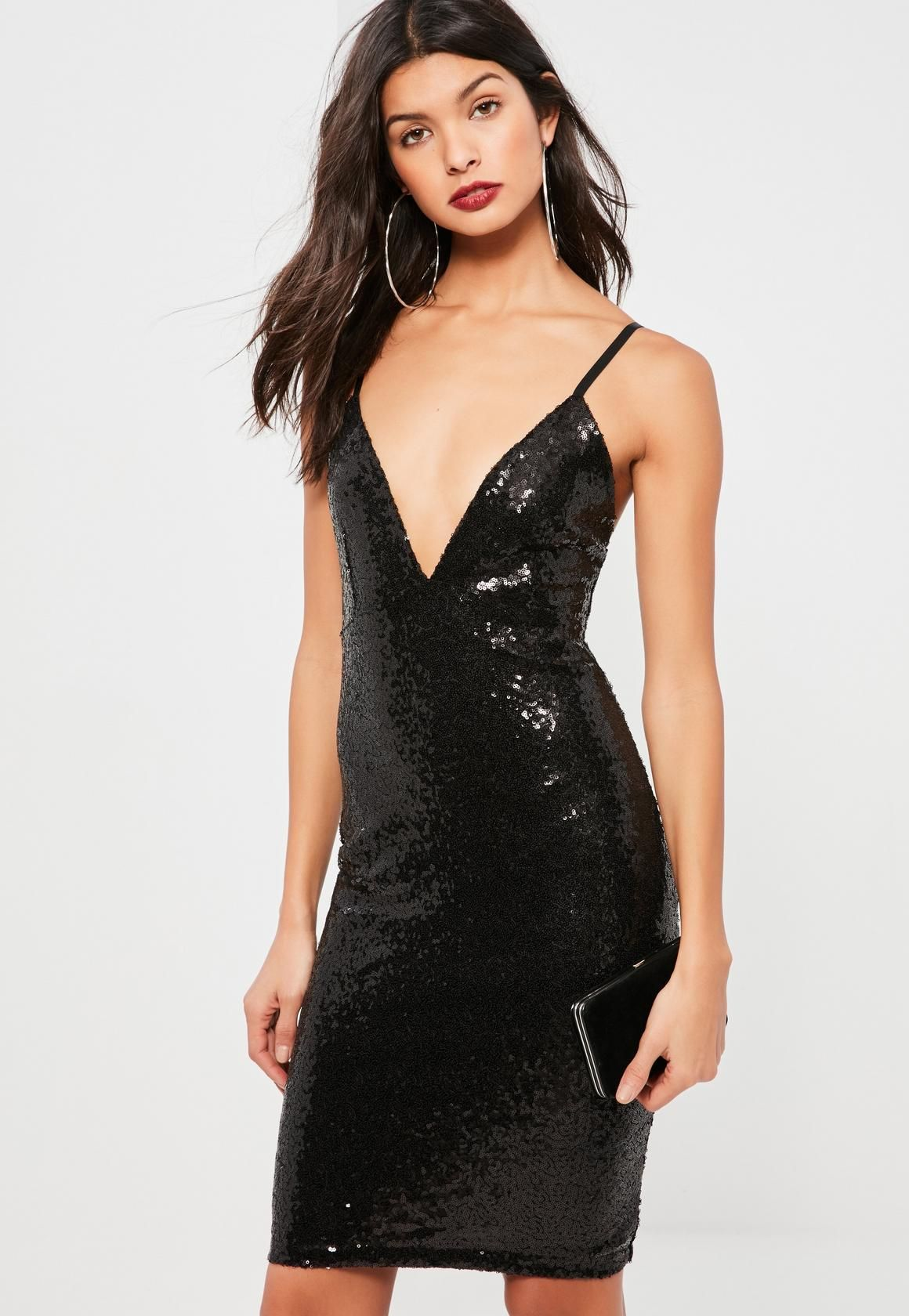 728a9cc18da Missguided - Black Sequin Plunge Midi Dress