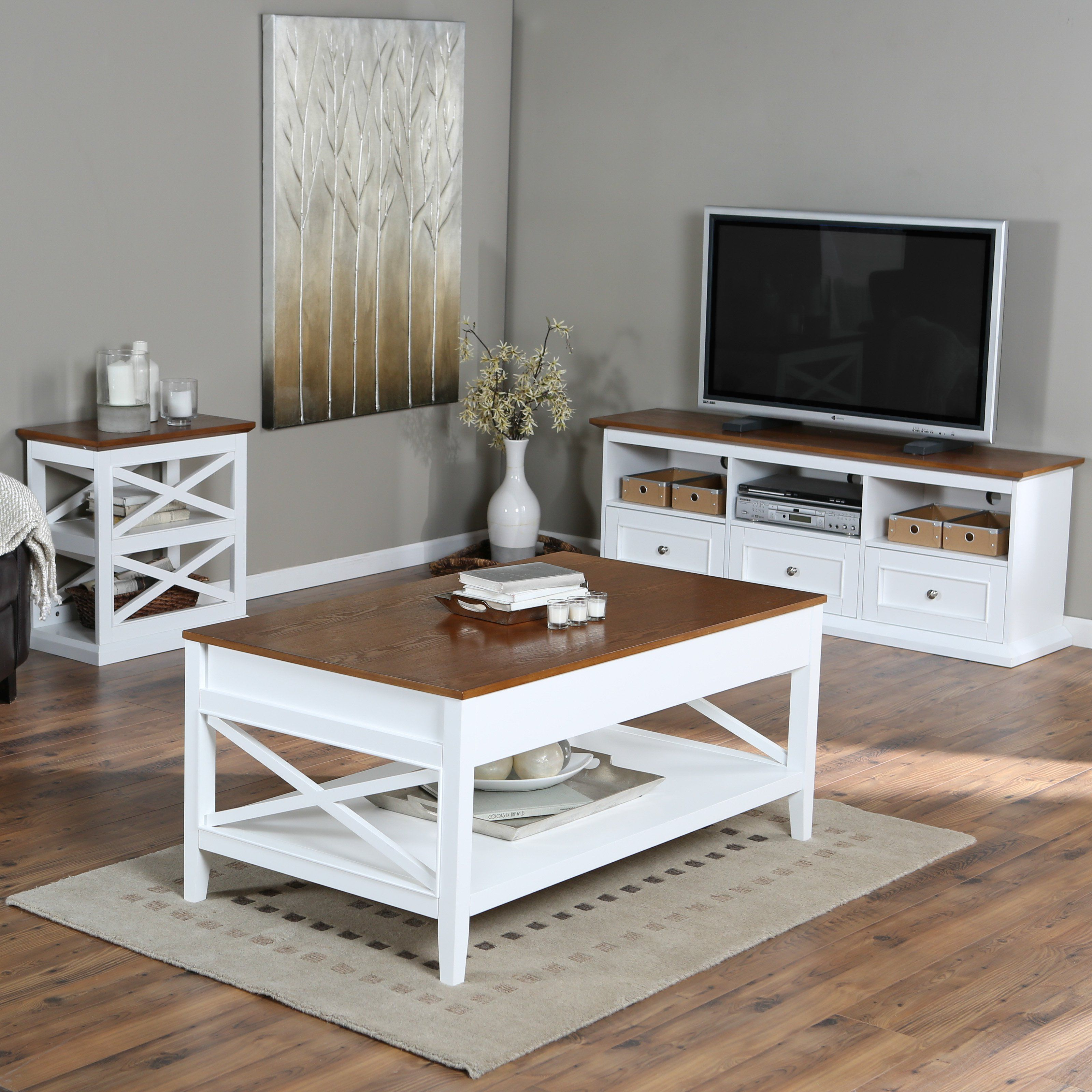 Belham Living Hampton Living Room Collection - White/Oak ...