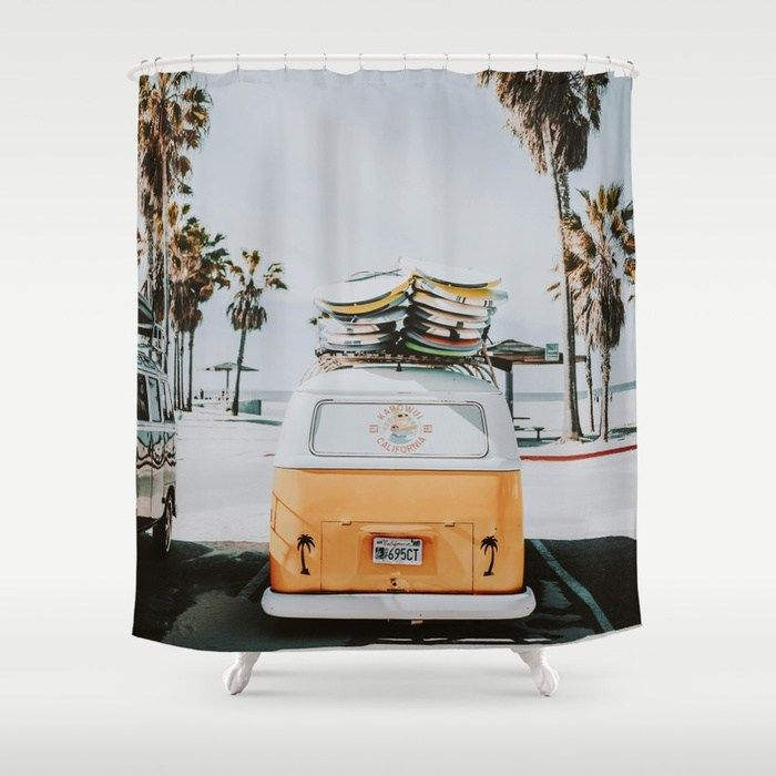 Buy Lets Surf Venice Beach California Shower Curtain By Mauikauai Worldwide Shipping Available