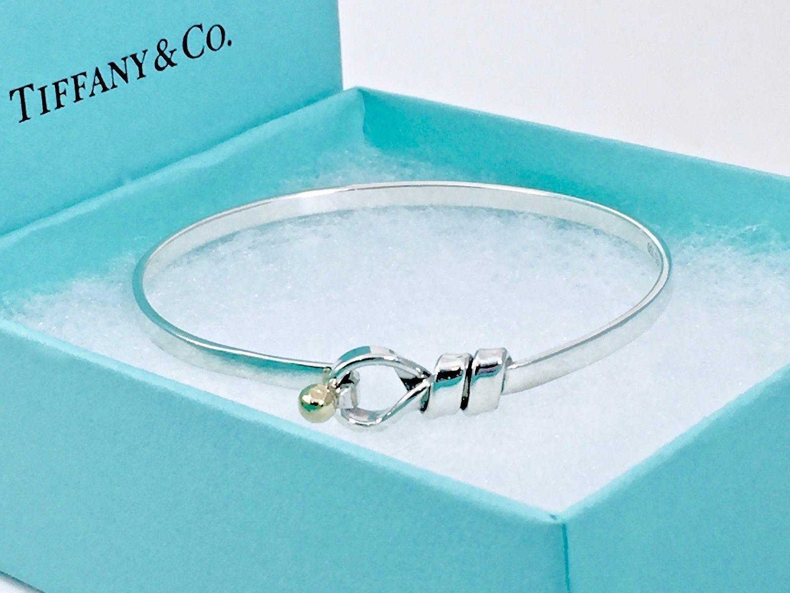 c6391463a Tiffany Co Silver 18k Yellow Hook & Eye Love Knot Bangle Bracelet 6.5