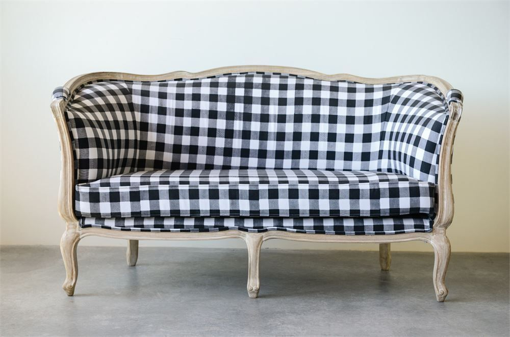 Anthropologie Style French Country Black White Buffalo Check