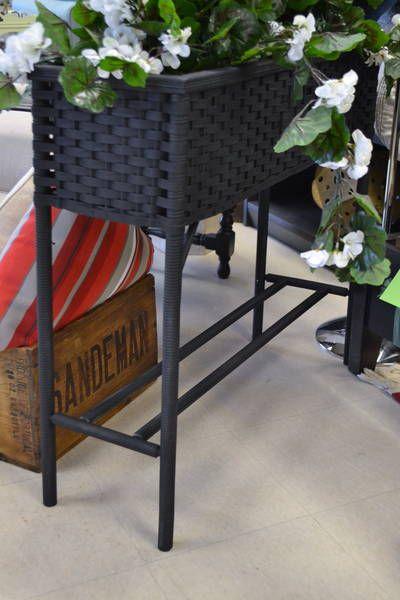 Lovely Black Resin Wicker Rectangular Plant Stand Planter Box