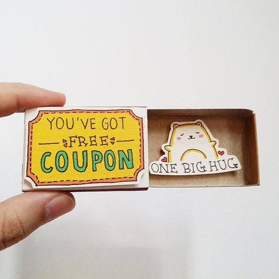 "Fun Encouragement Card Matchbox - Cute Cat Greeting Card - Gift box - ""You've Got Free Coupon"" - ""On"