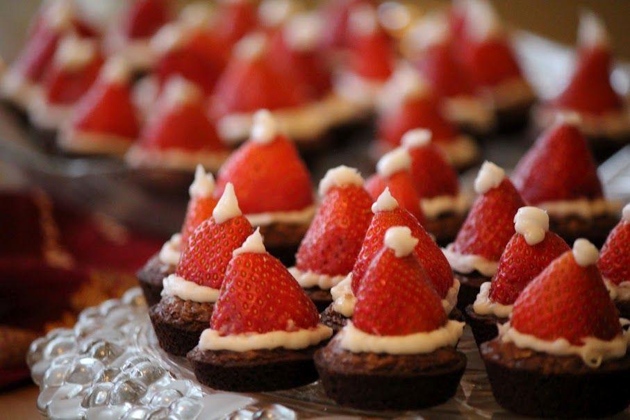 Santa hat brownies for Christmas