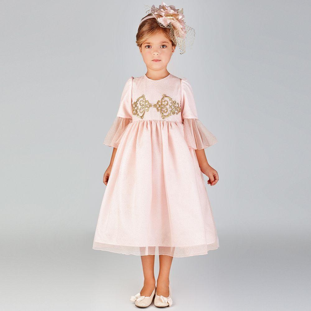 af63b289e35a Pink   Gold Tulle Long Dress