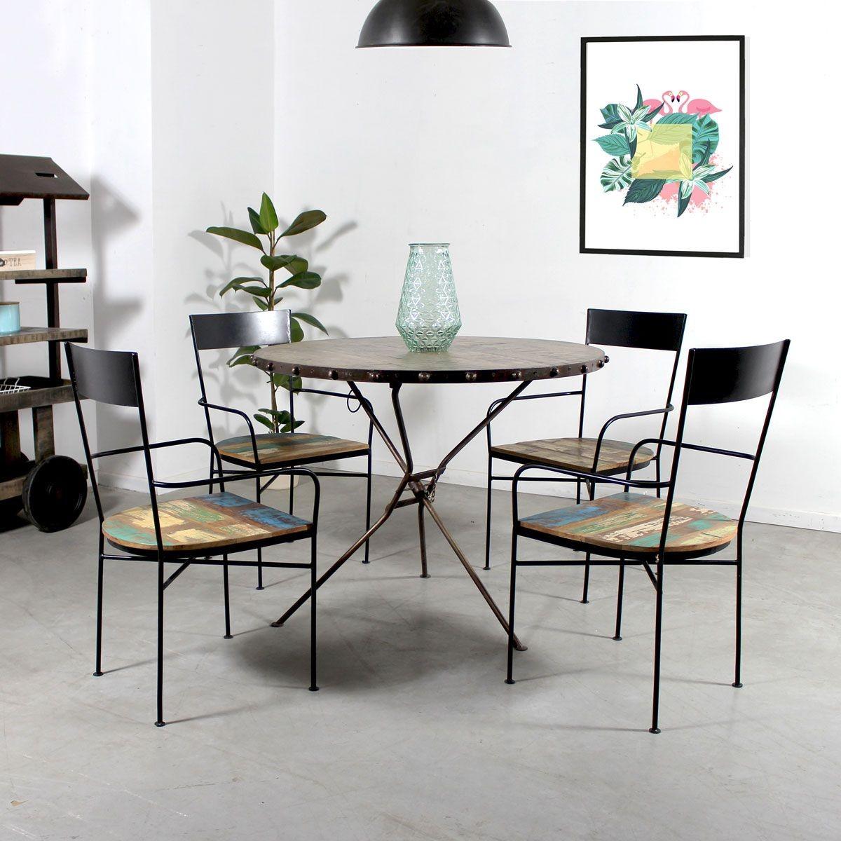 Chaise Industrielle Avec Accoudoirs Metal Et Bois Mk124 Taille Mobilier De Salon Chaise Industrielle Table Basse