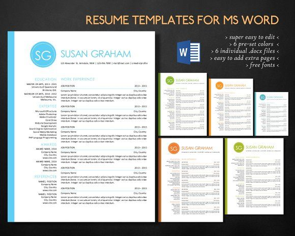 2 in 1 left bar circle Word resume by Inkpower on @creativemarket - simple resume template microsoft word