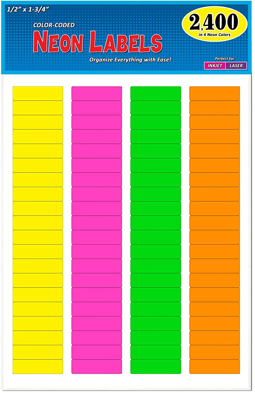 Amazon Com Pack Of 1200 1 2 X 1 3 4 Rectangle Color Coding Address Labels Bright Neon Colors 8 1 2 X 11 Inch Sheet Fits Color Coding Neon Colors Coding