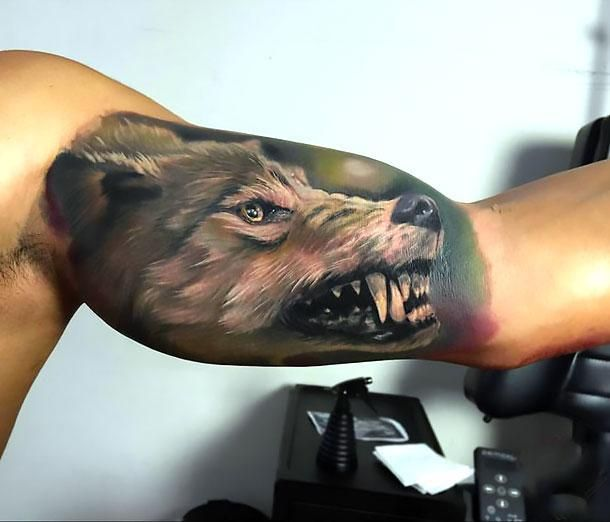 Amazing Realistic 3d Wolf Tattoo Idea On The Bicep Of A Guy Style Realistic Color Gray Tags Cool Best Wolf Tattoos Men Inner Bicep Tattoo Bicep Tattoo