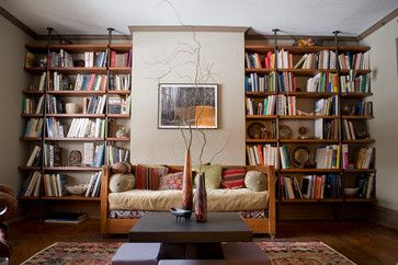 Built In Reclaimed Oak Shelving Eclectic Bookcases Cabinets And Computer Armoires