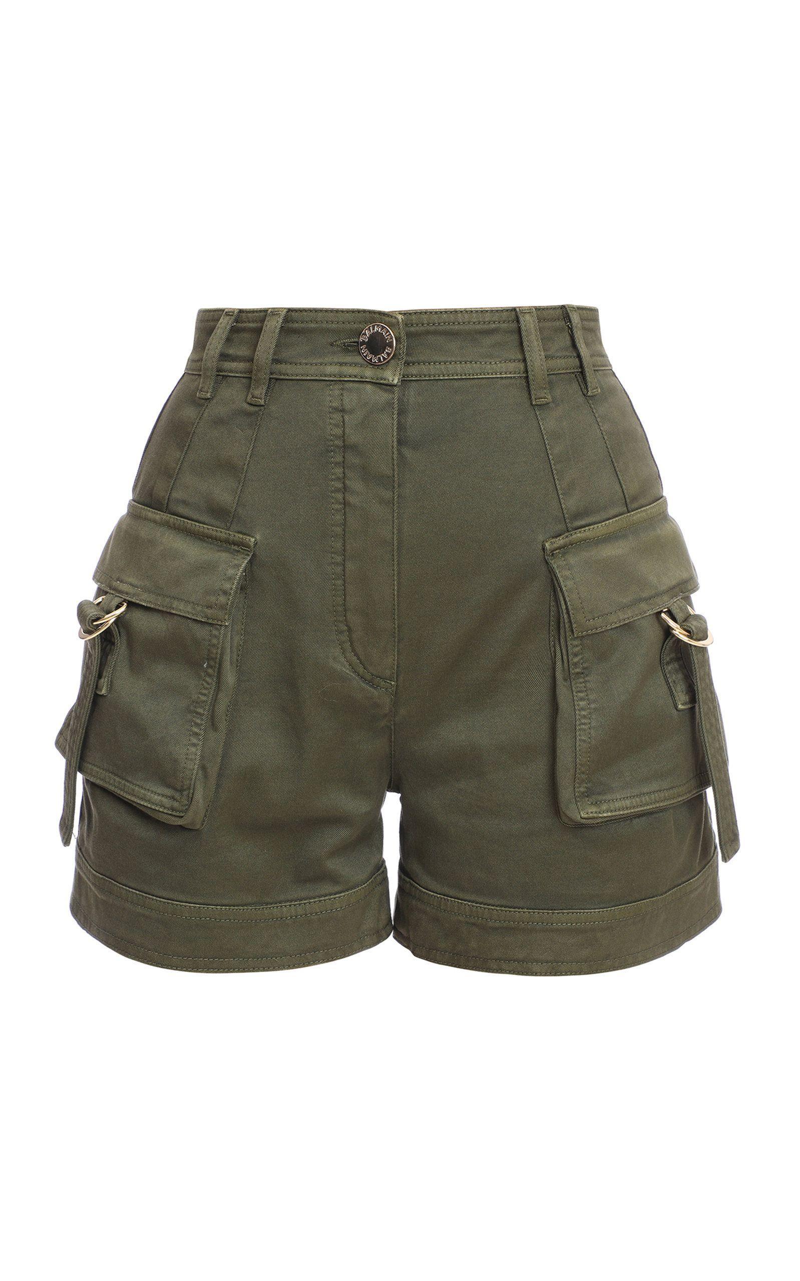 Stretch-Cotton High-Rise Cargo Shorts by Balmain | Moda Operandi