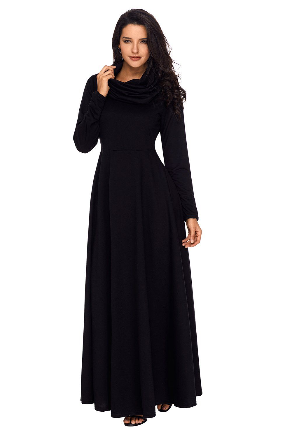 Sexy black cow neck long sleeve maxi dress black cow and products