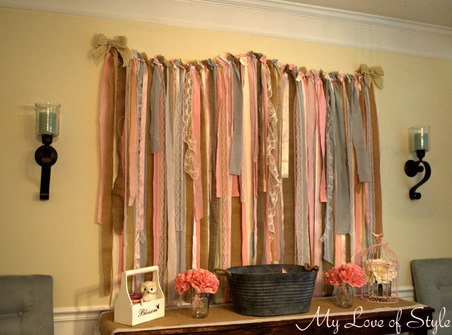DIY Fabric Garland Backdrop DIY Fabric Garland Backdrop - Make with burlap, linen, and lace !