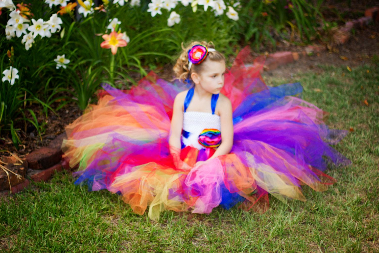 Rainbow Love- Rainbow flower girl tutu dress with removeable sash ...
