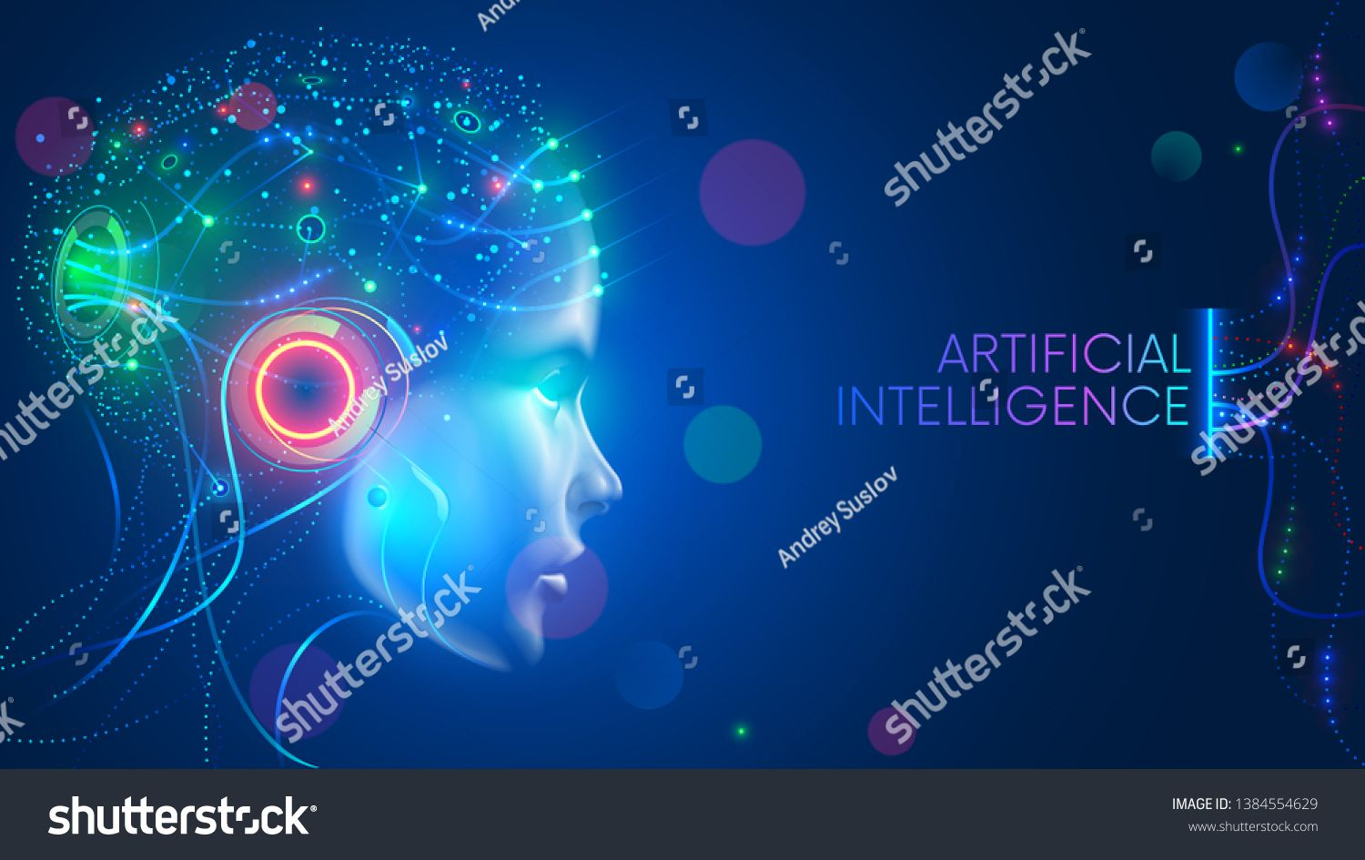 Artificial Intelligence Humanoid Head Neural Network Stock