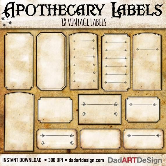 Vintage Apothecary Blank labels, 18 Hi Res PNG files ready to use + PDF ready to print is part of Vintage labels printables, Vintage labels printables free, Blank labels, Labels printables free, Vintage labels, Labels - INSTANT DOWNLOAD 18 Vintage Apothecary Blank labels with elegant double border, Hi Res PNG files ready to use, PDF ready to Print USES graphic design, stationery, Halloween, invitations, labels, scrapbooking, decoupage, press, digital printing, web design, blog design, wallpapers, backgrounds and much more        DISCOUNT COUPONS                     Do You like my Artworks  Are you interested in more than one item  You may have great discounts with my coupons  GET3PAY2    Discount Type 33% off      (Minimum Purchase US$14 00)  GET5PAY3    Discount Type 40% off    (Minimum Purchase US$20 00)  GET10PAY5  Discount Type 50% off   (Minimum Purchase US$35 00) Simply use the coupon that suits you in cart Etsy before payment!        DESCRIPTION                     Vintage Blank Apothecary labels   All designs are original, PNG and PDF Files are in hi res 300 dpi, great for your home printer or printing professional, Scrapbooking and Digital Scrapbooking  Please note In preview files I used for presentation backgrounds colors, PNG files in downloads are clean, single and isolated, without shadows and has transparent background         CONTAINS                     18 PNG Hi res Files 18 Pdf Files 8,5x11 inches        LICENSE                      Personal and small commercial use, You can't sell, share or redistribute as digital files or print as they are  You can include them in your personal artwork         PAYMENT                     via PayPal or Etsy Payments (Paypal, credit cards, debit cards)         WHERE IS DOWNLOAD                      Instant download via Etsy 1) After purchasing you'll be able to download via Etsy download page 2) If you Login in your account you will found links in the download area 3) Check your mail, Etsy will send you a link to download        SHIPPING                      No product will be shipped physically because you're buying a file, you will download it after payment, via etsy link