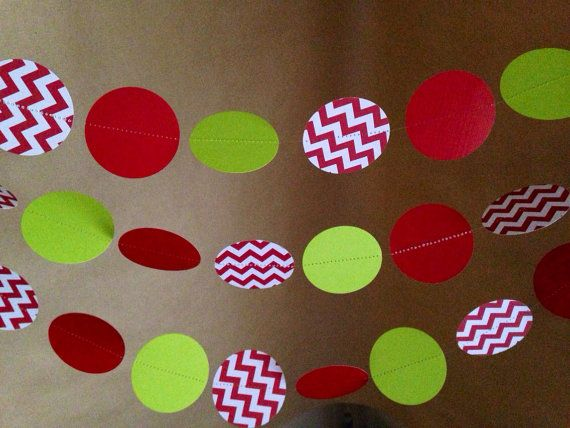 Red, White and Chevron Lime Green Paper Garland Party Decor