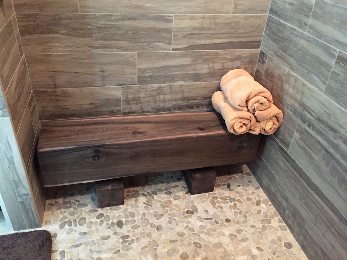 Cedar Timber Shower Bench With Iron Acetate Finish With Images