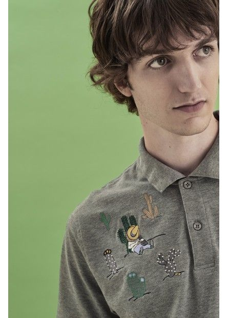 Mexican patches for a fun and ironic style. SUN68 redesigned a timeless classic for the upcoming season: choose your favorite Polo for your summer! #SUN68 #SS17 #POLO #patches #grey #icons #colors