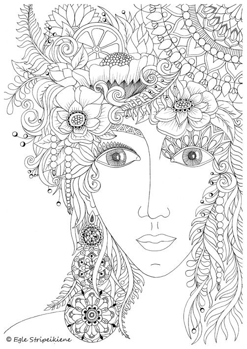 Coloring Page for Adults Women Face by Egle Stripeikiene