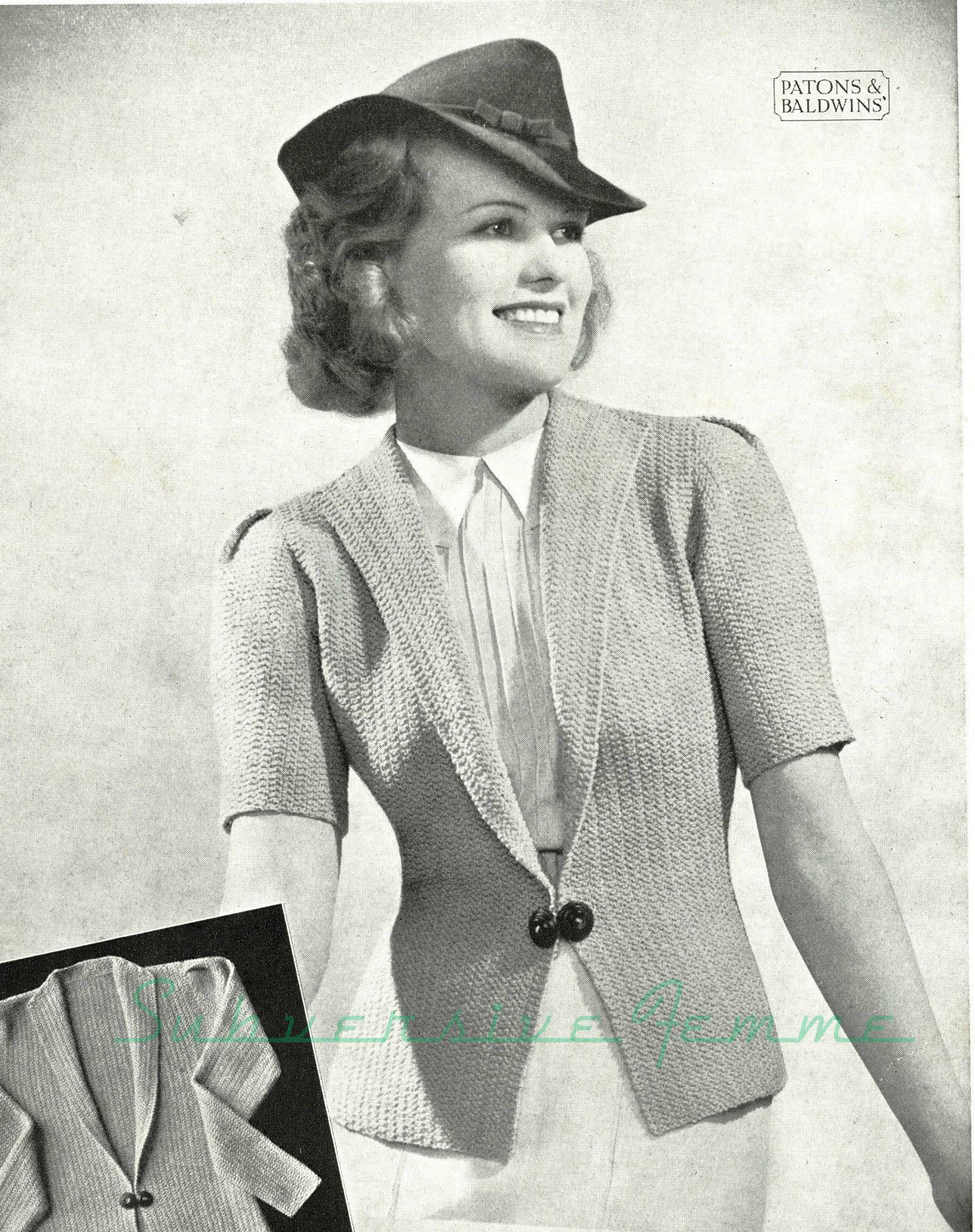 Curvy Pattern 6: Noreen jacket, c. 1930s | dulces | Pinterest | Dulces