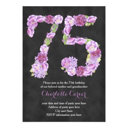 Lavender chalkboard 75th birthday party invitation 75th birthday lavender chalkboard 75th birthday party invitation filmwisefo