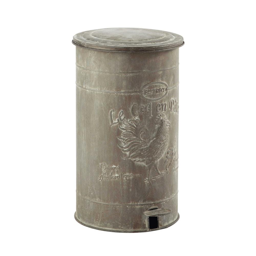 zinc look metal bin H 46cm | Maisons du Monde | zinc | Pinterest
